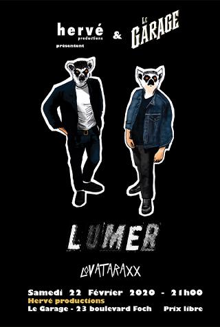 Affiche du concert du 22 février : LUMER et LOVATARAXX au bar cave Le Garage à Angers