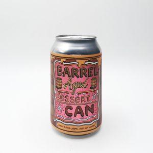 """Bière Canette """"DIC Barrel Aged Peanut Butter Caramel Crisp"""" de la brasserie Amundsen. Stout façon gâteau Peanut Butter, Caramel, Jam Doughnut, Barrel Aged."""